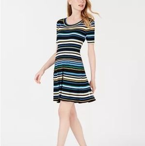 Maison Jules Striped A-Line Sweater Dress Colorful